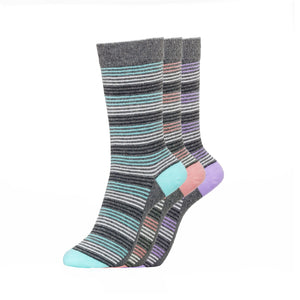 Ladies Corallo Socks 3pk - Grey Stripe