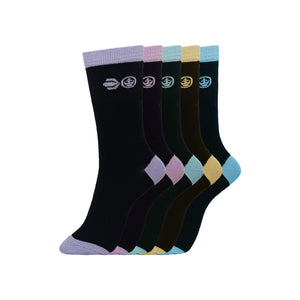 Ladies Pastello Socks 5pk - Black Assorted