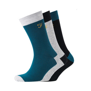 Darby Socks 3pk - Black/Bottle Green/Lt Green