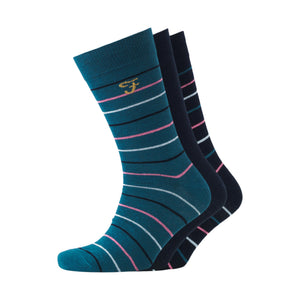Harlow Socks 3pk - Yale/Bottle Green Striped