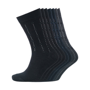 Morpeth Socks 7pk - Black/Navy Blazer/Charcoal Marl