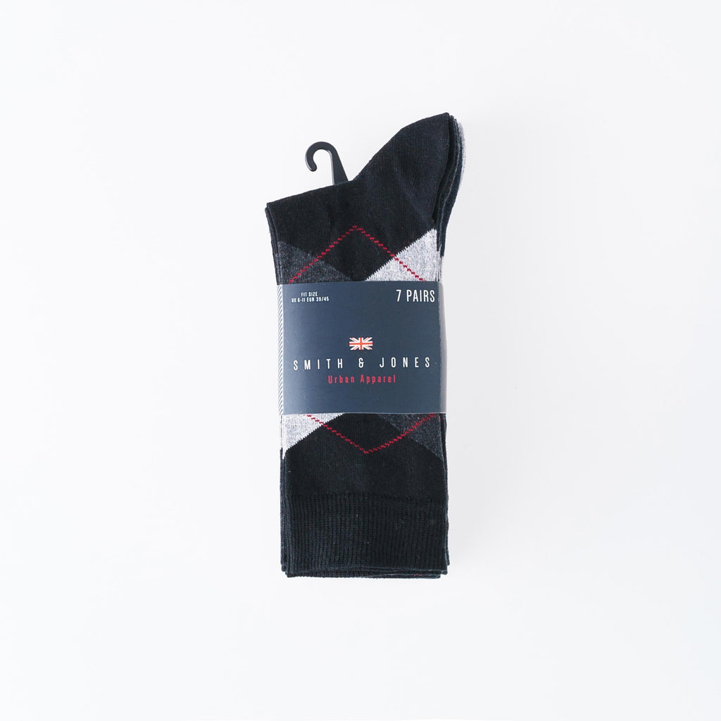 Dalton Socks 7pk - Black and Grey pack