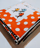 Embroidered Patchwork Flannel & Minky Baby Receiving Blanket - Dr. Seuss - New Fish - Baby See See