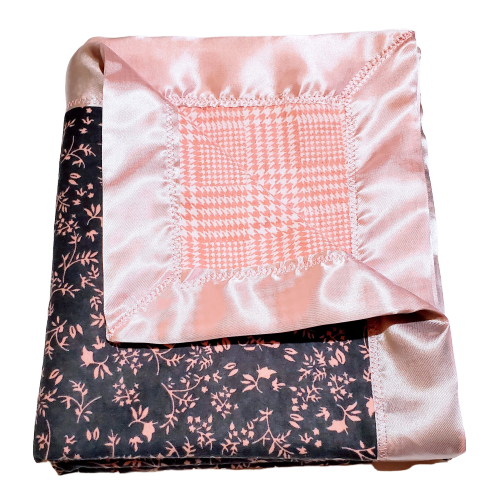 Large Double Flannel Reversible Infant Security Receiving Blanket - Pink Branches & Pink Houndstooth w/ Satin Trim incl. Embroidered Personalized Name.