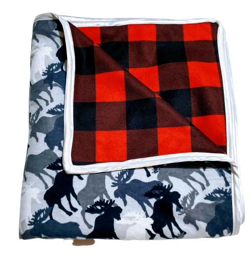 Large Double Flannel Reversible Infant Security Receiving Blanket - Grey Moose & Buffalo Plaid w/ Satin Edge