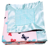 Large Double Flannel Reversible Infant Security Receiving Blanket- Butterfly & Teal Houndstooth w/ Satin Trim incl. Embroidered Personalized Name.
