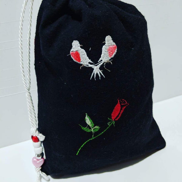 Handmade Embroidered Bag | Personalized Gift Bag | Valentine's Day | Love Birds - Baby See See