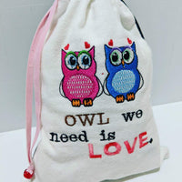 Handmade Embroidered Bag | Personalized Gift Bag | Valentine's Day Gift Idea | Owls - Baby See See