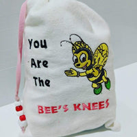 Handmade Embroidered Bag | Personalized Gift Bag | Valentine's Day gift bag | Bee - Baby See See