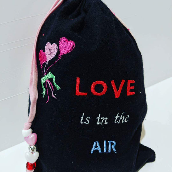 Handmade Embroidered Bag | Personalized Gift Bag | Valentine's Day | Love is in the Air - Baby See See