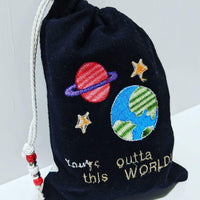 Handmade Embroidered Bag | Personalized Gift Bag | Valentine's Day gift idea| Outer Space - Baby See See
