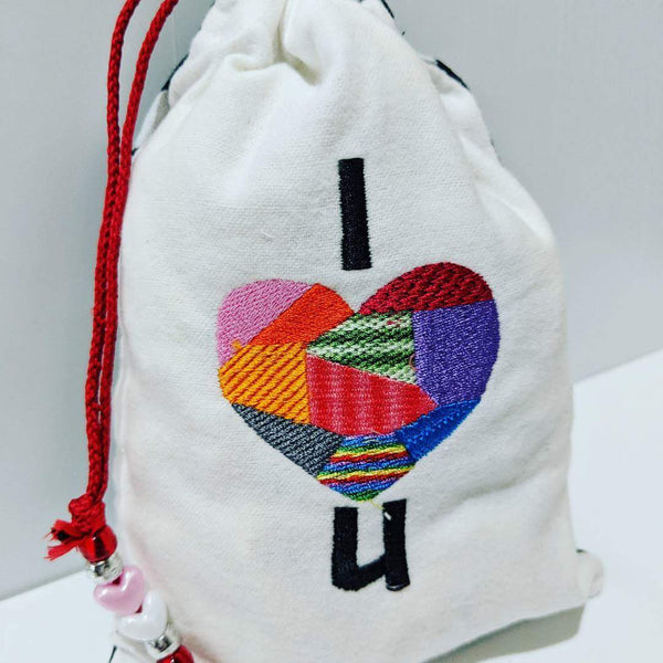 Handmade Embroidered Bag | Personalized Gift Bag| Valentine's Day | I Heart U. - Baby See See