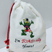 Handmade Embroidered Bag | Personalized Gift Bag | Valentine's Day | Toad - Baby See See