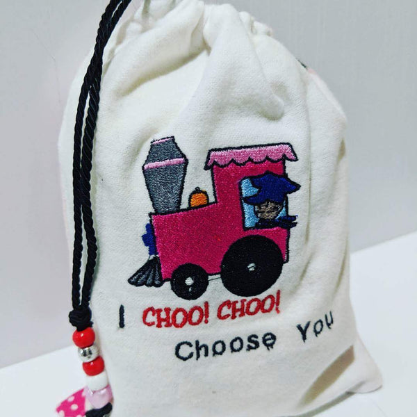 Handmade Embroidered Bag | Personalized Gift Bag | Valentine's Day Gift Bag| Choo Choo Train - Baby See See