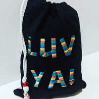 Handmade Embroidered Bag | Personalized Gift Bag | Valentine's Day | Rainbow Love - Baby See See
