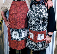Handmade Embroidered Apron| Work Aprons with Pockets| Dragon Theme - Dragon Scales - Baby See See