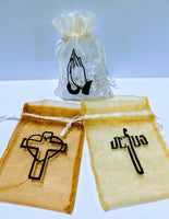 Embroidered Organza Gift Bags, Religious Favors, Baptism, Christening, Wedding Favor Bags, Sheer - Jesus Cross - Baby See See