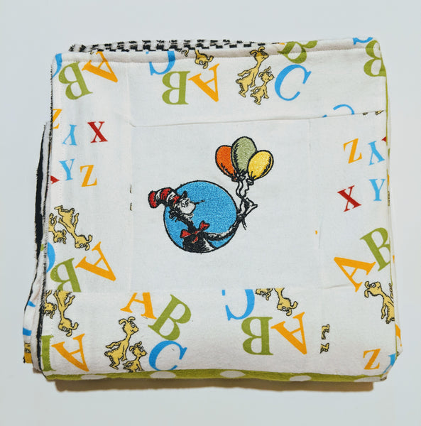 Embroidered Patchwork Flannel & Minky Baby Receiving Blanket - Dr. Seuss ABC's - Baby See See