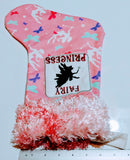 Embroidered Custom & Personalized Christmas Holiday Flannel Lined Stocking, Fairy Princess Theme cotton flannel and pink faux fur cuff - Baby See See