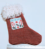 Embroidered Custom & Personalized Christmas Holiday Flannel Lined Stocking, Candy Theme fleece and white llama faux fur cuff - Baby See See
