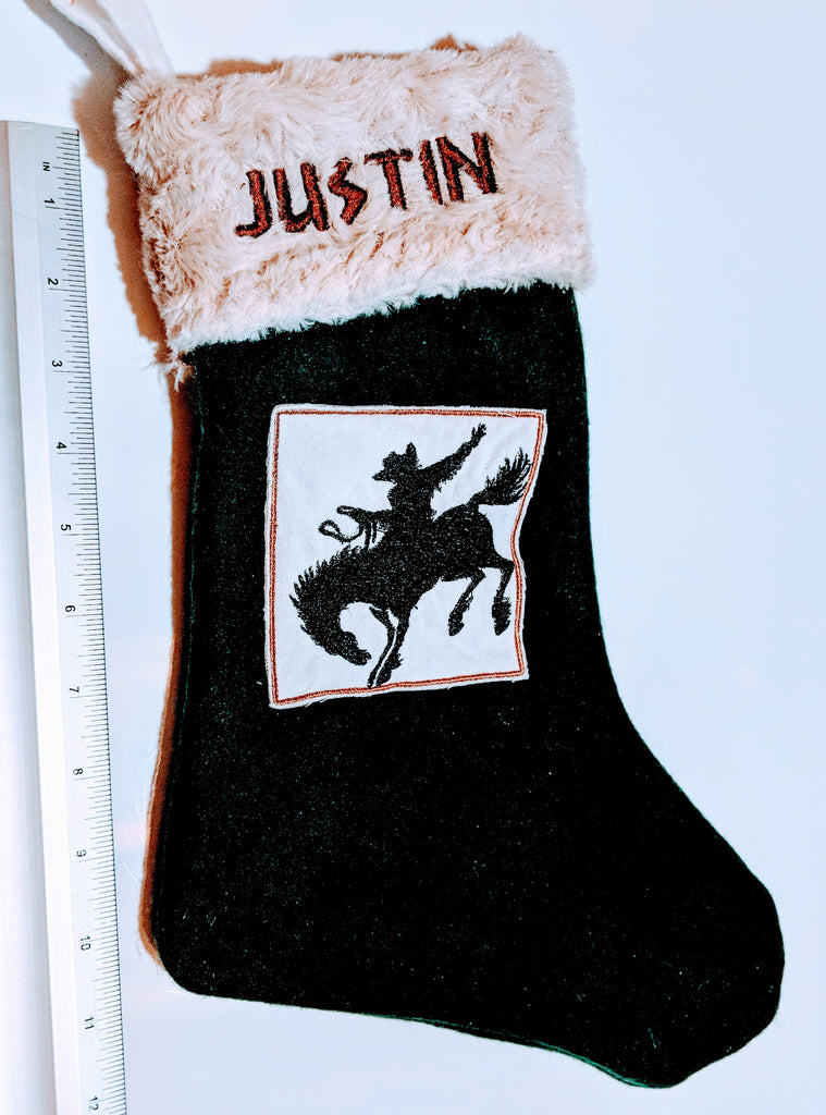 Western Christmas Stockings Personalized.Embroidered Custom Personalized Christmas Holiday Flannel