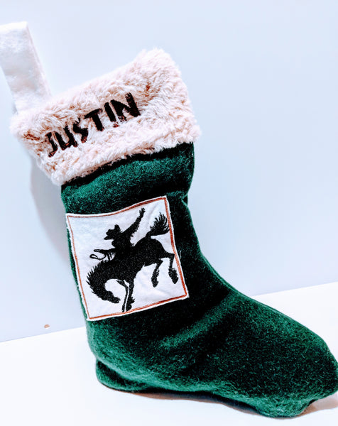 Embroidered Custom & Personalized Christmas Holiday Flannel Lined Stocking, Cowboy/Western Theme, green fleece with beige rose faux fur cuff - Baby See See
