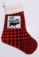 Embroidered Custom & Personalized Christmas Holiday Flannel Lined Stocking, Reindeer Theme, red houndstooth fleece w/ Sherpa minky cuff - Baby See See