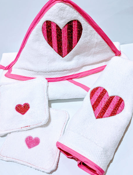 Handmade Embroidered Hooded Baby Towel | Hooded Towels for Kids | Valentine's - Baby See See