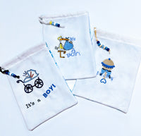Handmade Embroidered Bag | Customized Gift Bags| Baby Shower Gift Bags for Guests|Its a Boy Stork - Baby See See