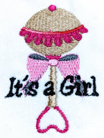 Handmade Embroidered Bag | Customized Gift Bags|Baby Shower Gift Bags for Guests| Its a Girl Baby Rattle - Baby See See