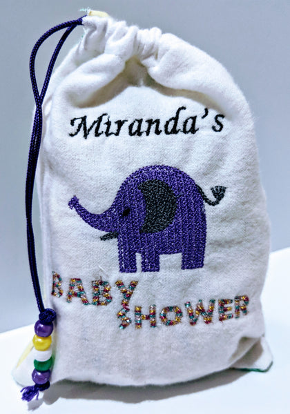 Handmade Embroidered Bag | Customized Gift Bags| Baby Shower Gift Bags for Guests| Baby Elephant - Baby See See