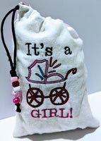 Handmade Embroidered Bag | Customized Gift Bags|Baby Shower Gift Bags for Guests| Its a Girl Baby Carriage - Baby See See