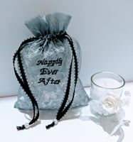 10 pcs- Personalized Embroidered Organza, Luxury Organza Wedding Favor Gift Bags - Baby See See