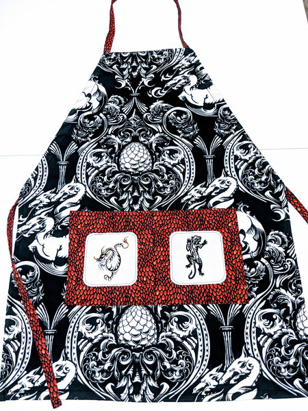 Handmade Embroidered Apron| Work Aprons with Pockets| Dragon Theme - Damask - Baby See See