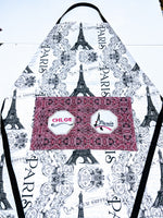 Handmade Embroidered Apron| Work Aprons with Pockets| Paris Theme - Eiffel Tower - Baby See See