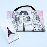 Handmade Embroidered Apron| Personalized Aprons with Pockets| Paris Romance - Eiffel Tower - Baby See See