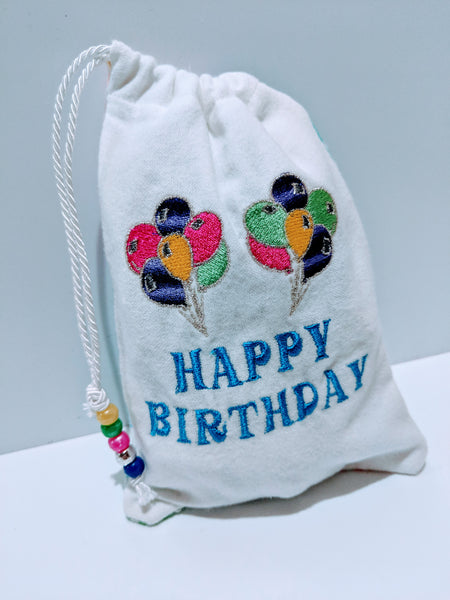 Handmade Embroidered Personalized Gift Bag | Birthday party favor bags| Balloons - Baby See See