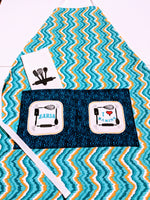 Handmade Embroidered Bag| Personalized Make up Bag| Monogrammed Makeup Bag|Teal Waves - Baby See See