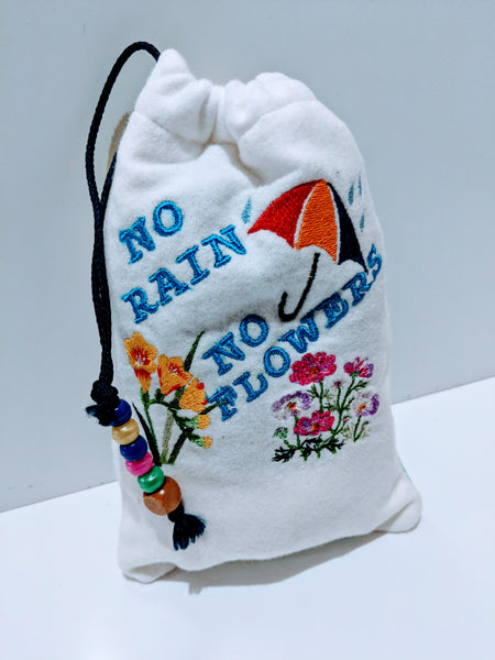 Handmade Embroidered Personalized Gift Bag | Easter Gift bags| Spring Drawstring bags | No Rain| - Baby See See