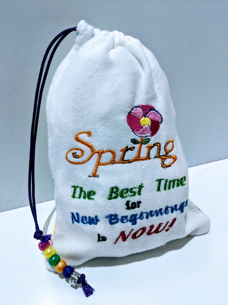 Handmade Embroidered Personalized Gift Bag | Easter Gift bags| Spring Drawstring bags | Spring| - Baby See See