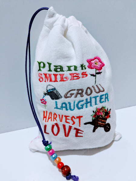 Handmade Embroidered Personalized Gift Bag | Easter Gift bags| Spring Drawstring bags | Harvest - Baby See See