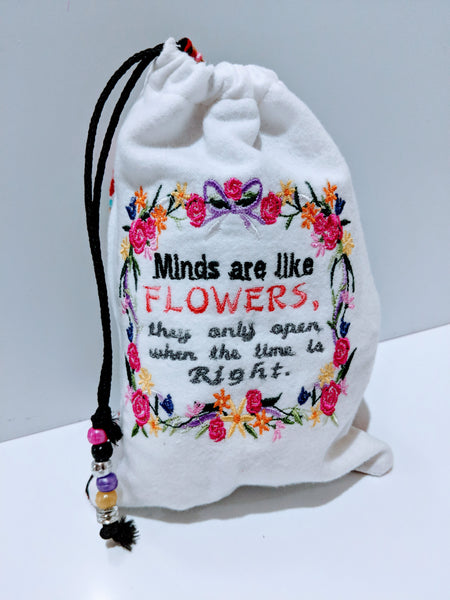 Handmade Embroidered Personalized Gift Bag | Easter Gift bags| Spring Drawstring bags | Minds| - Baby See See