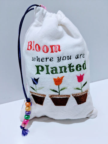 Handmade embroidered personalized gift bag easter gift bags handmade embroidered personalized gift bag easter gift bags spring drawstring bags bloom negle Images