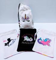 Handmade Embroidered Personalized Gift Bag | Birthday party favor bags| Rainbow Unicorn - Baby See See