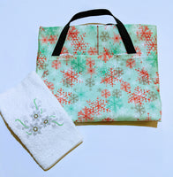 Handmade Embroidered Apron| Personalized Aprons with Pockets| Sage in Snowflakes - Baby See See