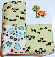 Baby blanket, Embroidered Turtle Flannel Baby Blanket - Baby See See
