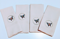 Set of 4 - Embroidered Linen Napkins, Bamboo Napkin, Personalized Cloth Napkins, Butterfly Napkin - Baby See See
