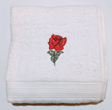 "Rose Embroidered Cotton Bath Towel - 27""X 50"""