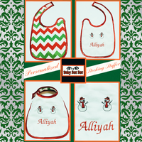 Handmade Embroidered Baby Bibs | Baby Food Bib | Christmas - Baby See See