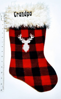 Embroidered Wildlife Personalized Christmas Holiday Flannel Lined Stocking, Buffalo Plaid fleece and white llama faux fur cuff